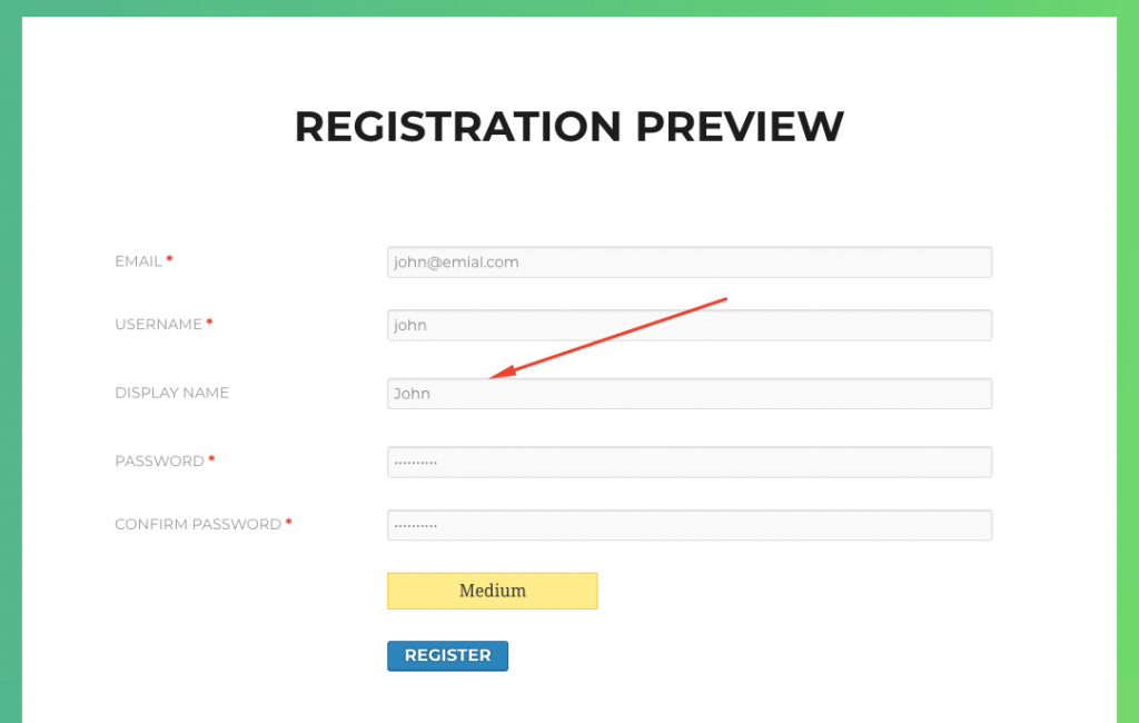 How to validate display name in WordPress registration
