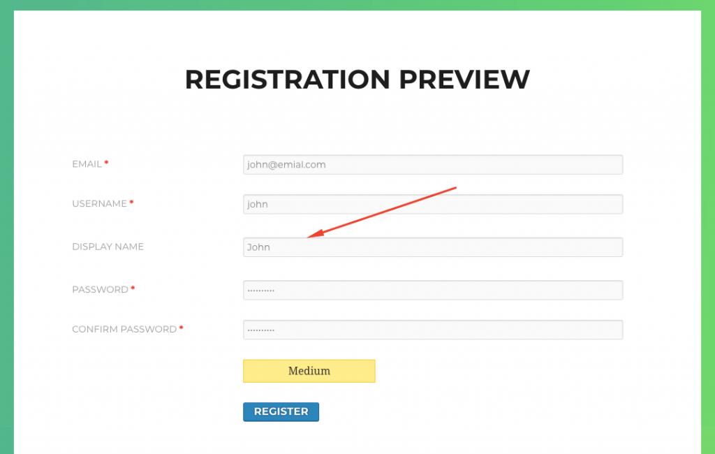 How to validate display name in WordPress registration